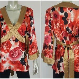 Allison Taylor Gold Red Rose Kimono Tunic Top Sz L